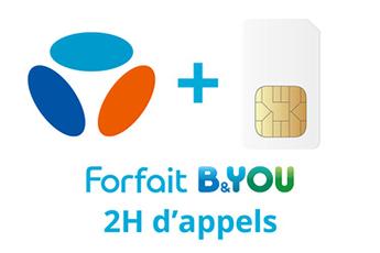 Forfait SIM seule FORFAIT B&YOU 2H + 20 Mo Bouygues Telecom