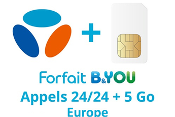 Forfait SIM seule FORFAIT B&YOU 24/24 + 5Go EUROPE Bouygues Telecom