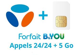 Forfait SIM seule FORFAIT B&YOU 24/24 + 5Go Bouygues Telecom