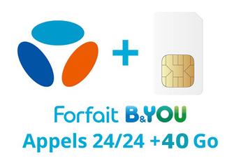 Forfait SIM seule FORFAIT B&YOU 40GO PRO Bouygues Telecom