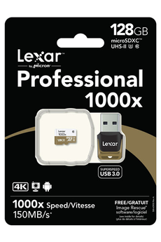 Carte micro SD PROFESSIONAL 1000x MICRO SDXC 128 Go Lexar