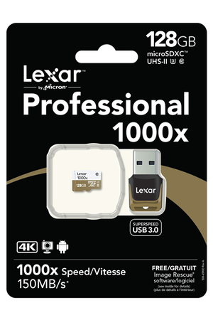 carte micro sd lexar professional 1000x micro sdxc 128 go carte memoire 4133200 darty. Black Bedroom Furniture Sets. Home Design Ideas
