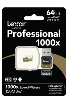 Carte mémoire PROFESSIONAL 1000x MICRO SDXC 64 Go Lexar