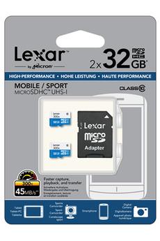Carte mémoire Micro SD 2 x 32Go 300X Lexar