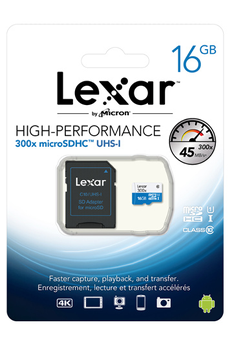 Carte micro SD HIGH PERFORMANCE MICRO SDHC 16 Go Lexar