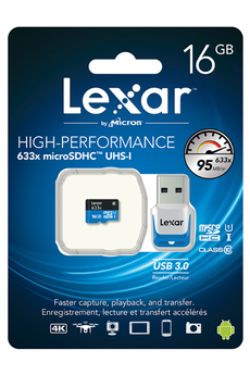 Carte mémoire HIGH PERFORMANCE MICRO SDHC 16 GO Lexar