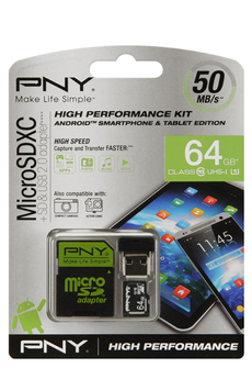 Carte mémoire KIT SD 64GB Pny