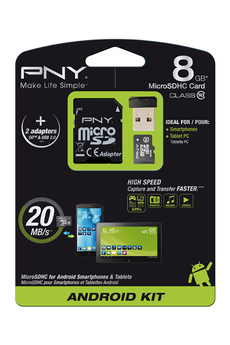 Carte mémoire MSD KIT ANDROID 8GB Pny
