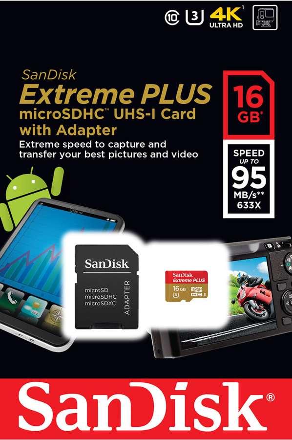 carte micro sd sandisk extreme plus micro sdhc 16 go msd. Black Bedroom Furniture Sets. Home Design Ideas