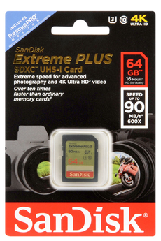 Carte mémoire SD 64GO EXTREME PLUS V2 Sandisk