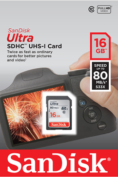 Carte SD ULTRA SDHC 16 Go Sandisk