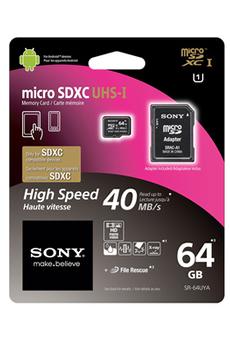 Carte mémoire MICRO SDXC 64 GO UHS1 SD + ADAPTATEUR SD Sony