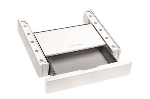 Kit de superposition blanc Avec tablette intégrée Tiroir de rangement Pour lave-linge et sèche-linge MIELE série Chrome