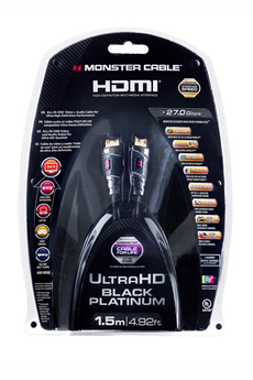 Cable video Cordon hdmi black platinium 1,5m Monster