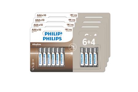 Piles Philips LOT DE 40 PILES AAA (4 PACKS DE 6+4)