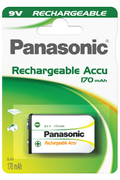 Pile rechargeable Panasonic HIGH CAPACITY 9V 170 mAh