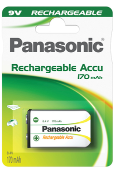 Pile rechargeable HIGH CAPACITY 9V 170 mAh Panasonic