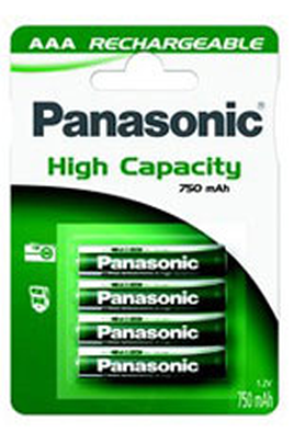 Pile rechargeable Panasonic HIGH CAPACITY LR03 AAA 750 mAh x4