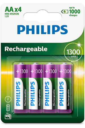 Pile rechargeable Philips PILES LR6 AA 1300 MAH