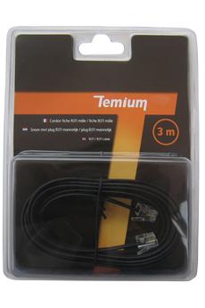 Cordon et fiche téléphone CORDON TELEPHONIQUE 3M RJ11 MALE / RJ11 MALE Temium