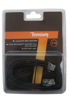 Cordon et fiche téléphone CORDON TELEPHONIQUE 3M RJ11 MALE / RJ45 MALE Temium
