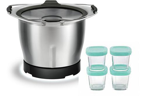 Bol en inox avec poignée Capacité du bol 1,4 litre 4 pots fournis Compatible avec les robots cuiseurs Moulinex Companion et i-Companion