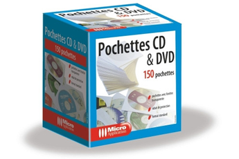 Rangement CD / DVD Micro Appli 150 pochettes blanches pour CD et DVD