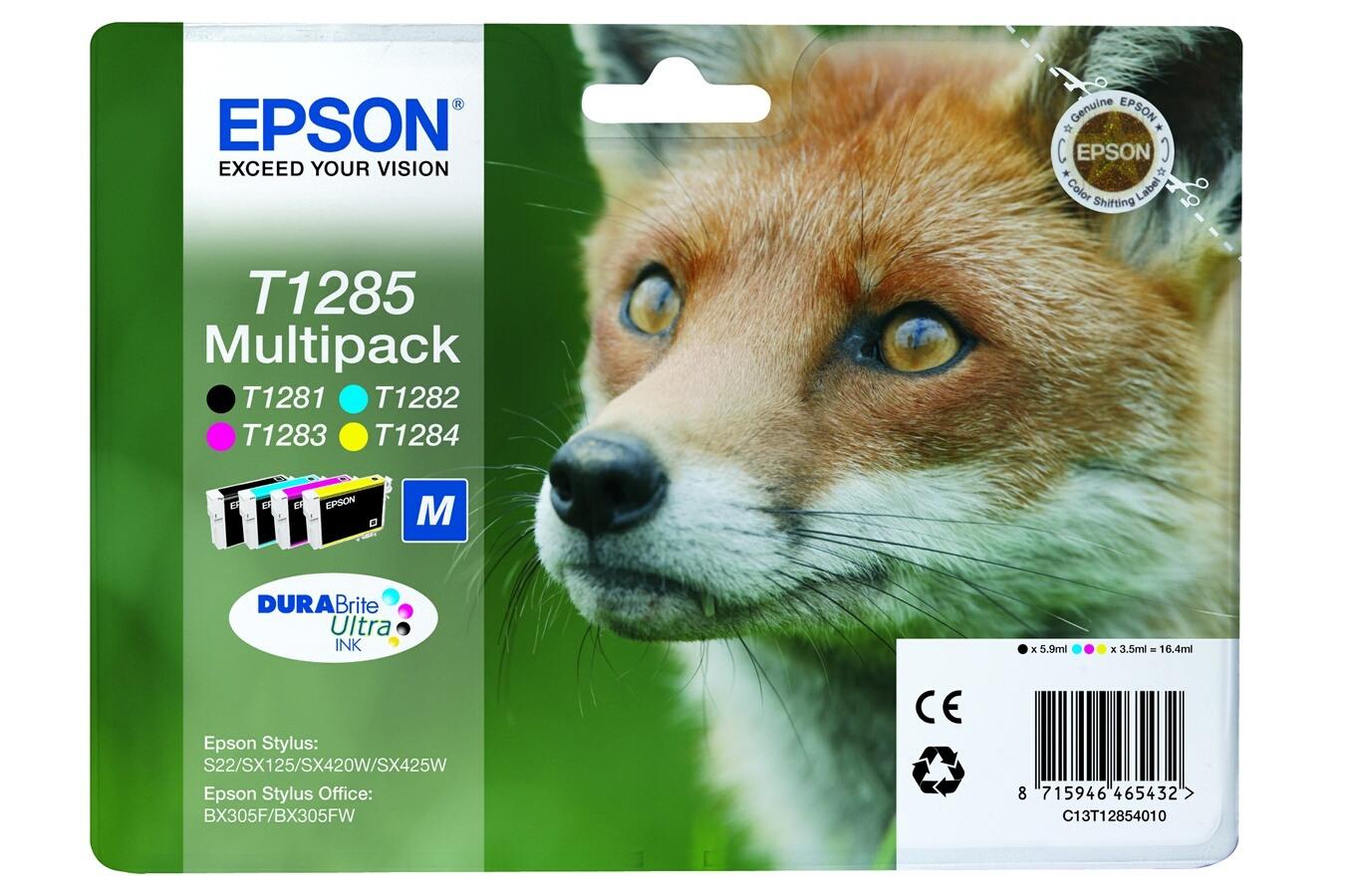 cartouche d 39 encre epson pack couleur t1285 renard 4101014 darty. Black Bedroom Furniture Sets. Home Design Ideas