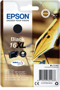 Cartouche d'encre T1631 XL NOIR STYLO PLUME Epson