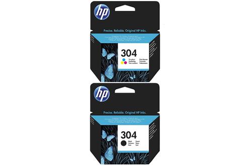 Cartouche jet d'encre originale HP 304 3 couleurs + Noir Compatibilité : gamme d'imprimantes tout-en-un HP DeskJet 3700