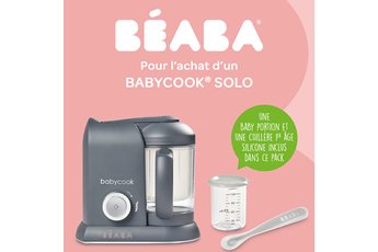 Mixeur cuiseur Beaba Babycook Solo + 1 baby portion + 1 cuill silicone 1er âge