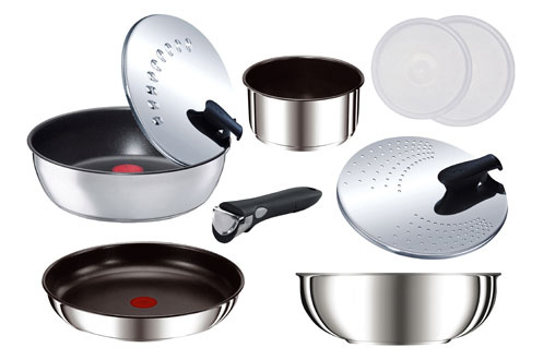 poele sauteuse tefal set 9 pieces ingenio inox. Black Bedroom Furniture Sets. Home Design Ideas