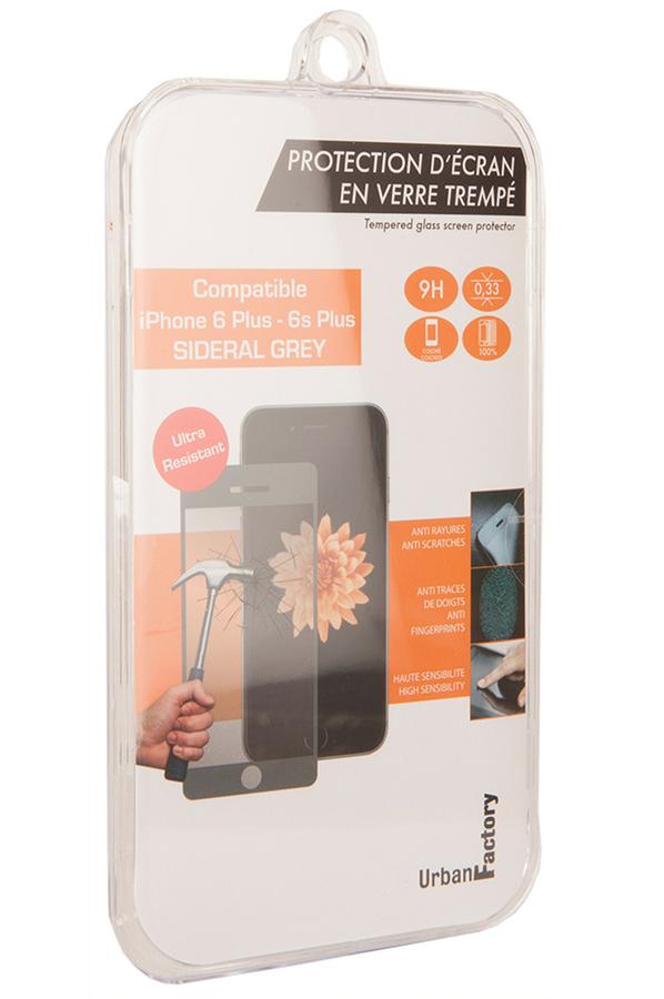 protection cran iphone urban factory protection d 39 ecran en verre trempe couleur gris sideral. Black Bedroom Furniture Sets. Home Design Ideas