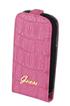 Housse et étui pour téléphone mobile Etui croco rose pour Galaxy SIII Mini Guess
