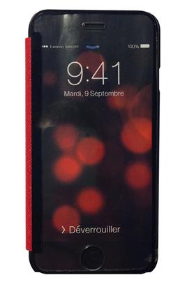 Housse et étui pour téléphone mobile ETUI A RABAT GLASS & MIRROR ROUGE POUR IPHONE 6 My Way