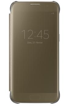 Housse et étui pour téléphone mobile ETUI CLEAR VIEW COVER OR POUR SAMSUNG GALAXY S7 Samsung