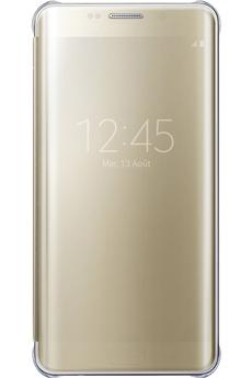 Housse et étui pour téléphone mobile ETUI CLEAR VIEW COVER OR POUR GALAXY S6 EDGE + Samsung