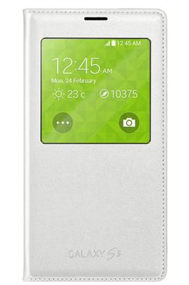 Housse et étui pour téléphone mobile Etui S view Cover Blanc pour Galaxy S5 Samsung