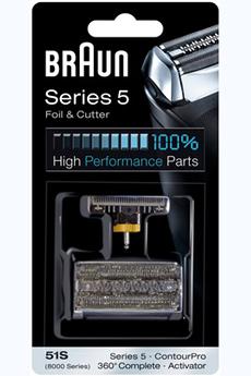 Grille et tête de rasoir GRILLE + BLOC COUTEAUX 51S COMBI-PACK Braun