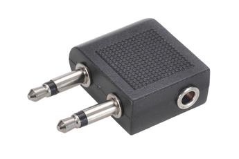Accessoires audio Lineaire ADAPTATEUR AVION DOUBLE JACK 3,5 MALE VERS JACK FEMELLE
