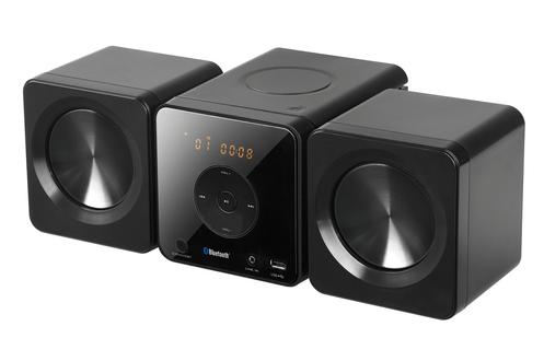 Micro chaîne avec lecteur CD Puissance 10 Watts RMS Compatible MP3, WMA et radio FM stéréo Port USB et télécommande fournie