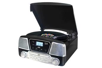 Micro-chaîne avec lecteur CD compatible MP3 Platine vinyle 3 vitesses 33, 45 et 78 tours/min Technologie Bluetooth - Tuner AM/FM - HP stéréo intégrés Port USB et lecteur de carte SD avec fonction enregistrement