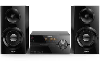 Diffusion de musique sans fil en Bluetooth Système d'enceintes Bass Reflex Compatible DAB+ et FM Charge USB rapide