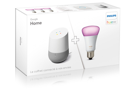 enceinte intelligente google pack home kit de d marrage philips hue white and color 3 ampoules. Black Bedroom Furniture Sets. Home Design Ideas