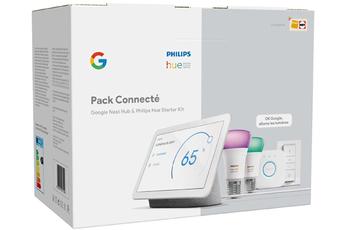 Enceinte intelligente Google Nest Hub + Kit de démarrage Philips Hue Exclusivité Darty