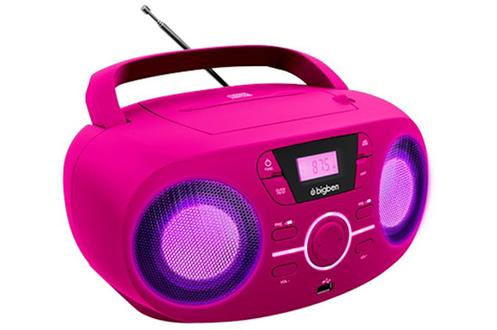 LECTEUR RADIO CD PORTABLE USB ROSE + SPEAKERS LUMINEUX