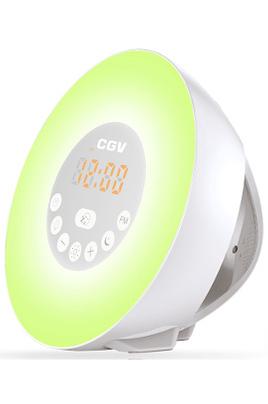 """Affichage LED à intensité modulable Tuner FM digital Fonction """"Snooze"""" Simulateur d'aube et de crépuscule"""