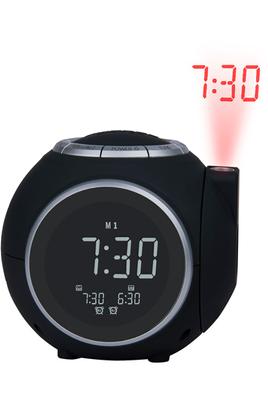 Radio réveil - Projection de l'heure avec rotation à 180° Tuner FM - 10 stations programmables Double alarme - Sons de la nature inclus Fonction Sleep et Snooze