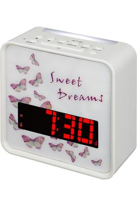 """Radio-réveil design """"Sweet Dreams"""" Tuner FM Double alarme - Fonction Snooze Affichage LED avec intensité réglable"""