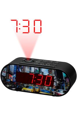 """Radio-réveil design """"New-York"""" - Projection de l'heure au plafond Tuner FM - 10 présélections Double alarme - Fonction Snooze et Sleep Affichage LED avec intensité réglable"""